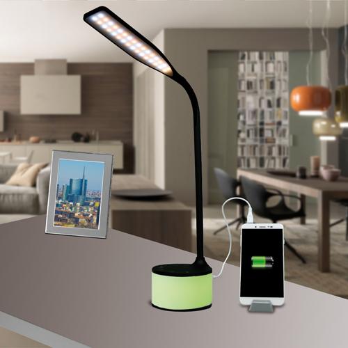 Lampada LED nera con charger USB e luci d'atmosfera